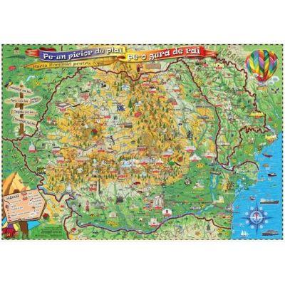 Pe-un picior de plai, pe-o gura de rai, 1400x1000mm - Harta Romaniei pentru copii, fara sipci (GHPLAI-140-L)