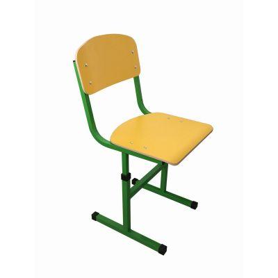 Scaun scolar, cu inaltimea reglabila, HPL galben cu teava rectangulara (MBSIRUA90292HPL-G)