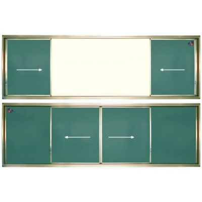 Tabla scolara cu mijlocul alb si 2 suprafete verzi culisante pe orizontala 4000x1200mm (TSCOVAYC400)