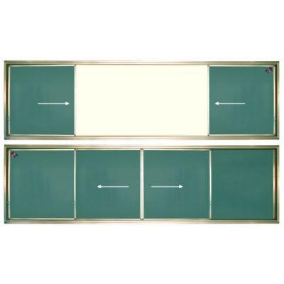 Tabla scolara cu mijlocul alb si 2 suprafete verzi culisante pe orizontala 4600x1200mm (TSCOVAYC460)