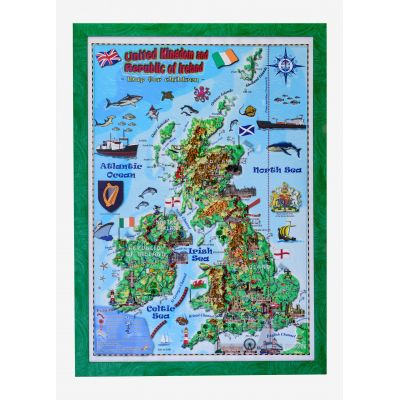 United Kingdom and Ireland map for children, 3D projection, Mercator 700x1000mm (3DGHBRIT70-EN)