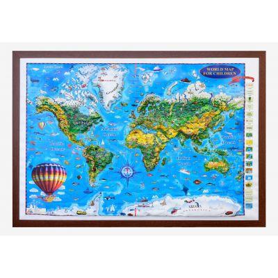 World map for children, 3D projection, 1400x1000mm (3DGHLCP-EN)