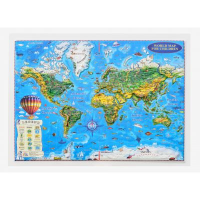 World map for cildren, 3D projection, 450x330mm (3DGHLCP45-EN)