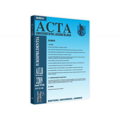 Acta Universitatis Lucian Blaga nr. 2/2019