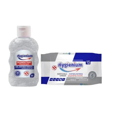 Pachet dezinfectanti maini si suprafete: Hygienium Gel dezinfectant maini VIRUCID 50 ml, avizat de Ministerul Sanatati si Hygienium Servetele umede dezinfectante maini15 buc, avizat Ministerul Sanatatii