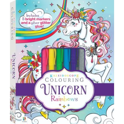Kaleidoscope Colouring. Unicorn Rainbows