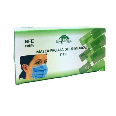 Global Masti de uz medical tip 2 Romania albaste 3 straturi, 50 de bucati