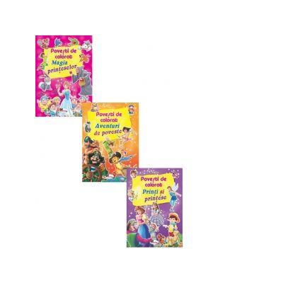 Pachet 3 carti Povesti de colorat. 1. Magia printeselor 2. Aventuri de poveste 3. Printi si printese